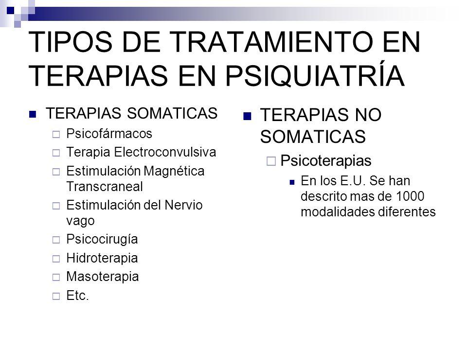 TIPOS DE TRATAMIENTO EN TERAPIAS EN PSIQUIATRÍA
