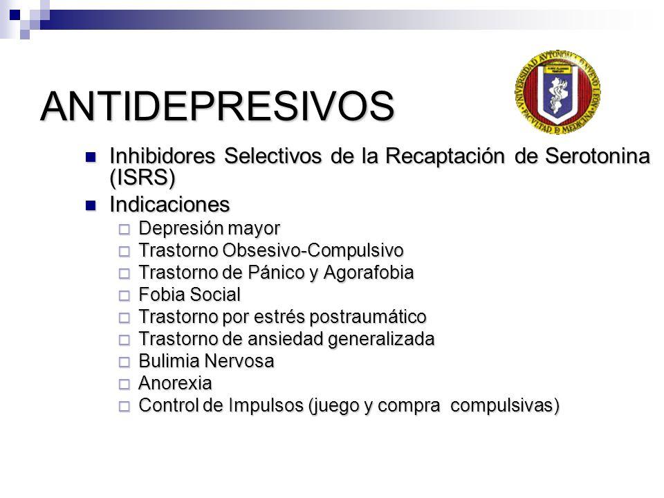 ANTIDEPRESIVOS Inhibidores Selectivos de la Recaptación de Serotonina (ISRS) Indicaciones. Depresión mayor.