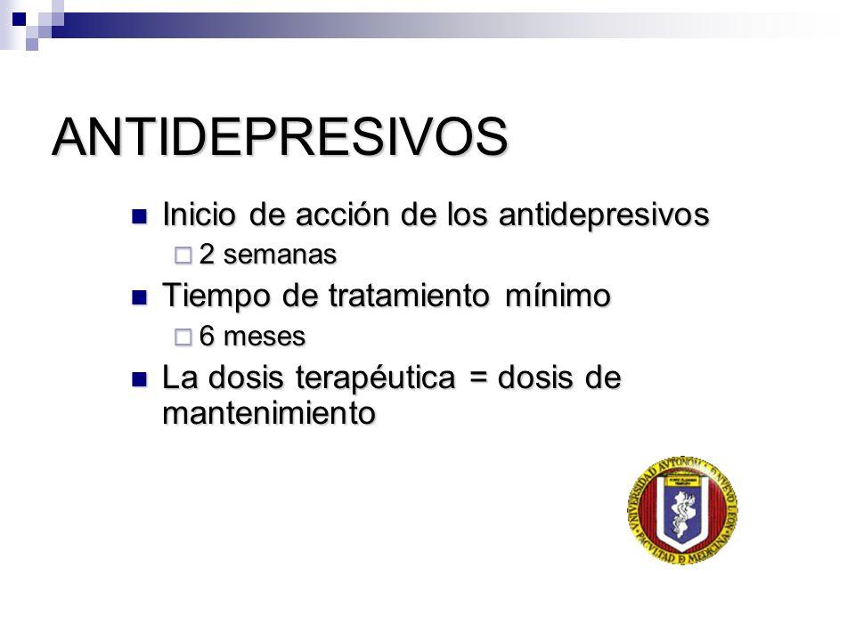 ANTIDEPRESIVOS Inicio de acción de los antidepresivos