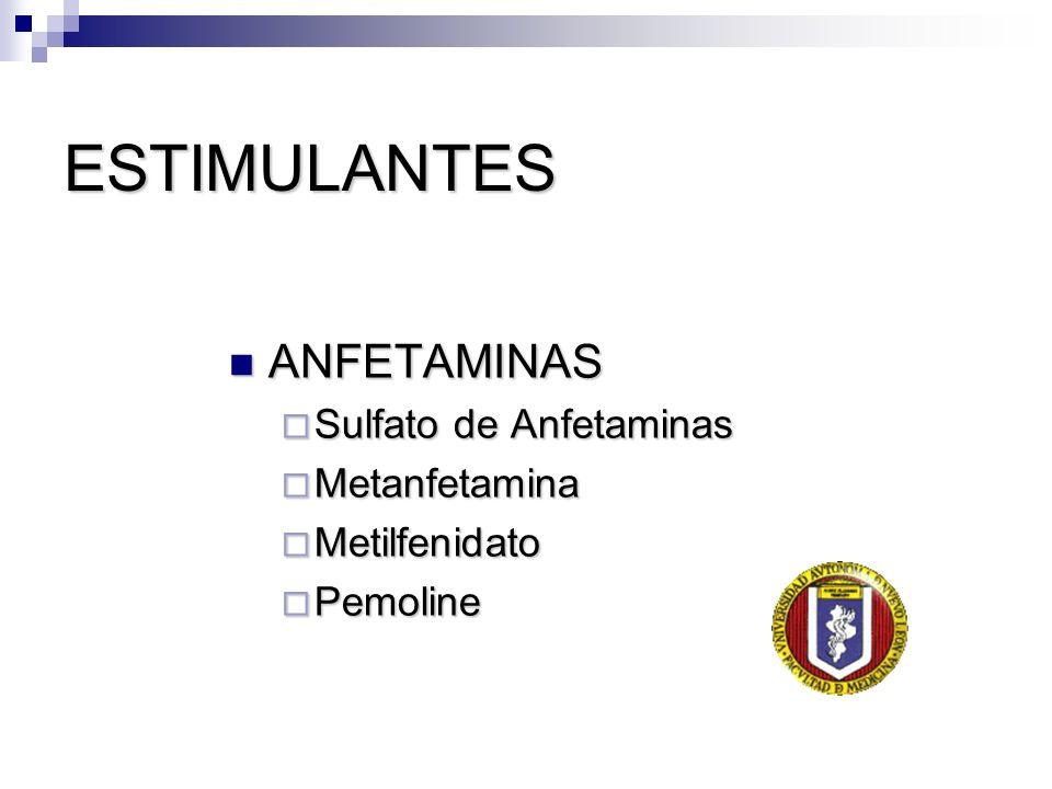 ESTIMULANTES ANFETAMINAS Sulfato de Anfetaminas Metanfetamina
