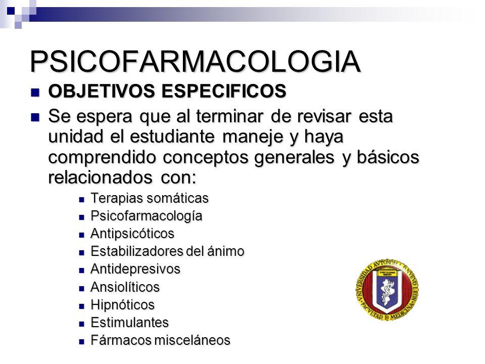 PSICOFARMACOLOGIA OBJETIVOS ESPECIFICOS