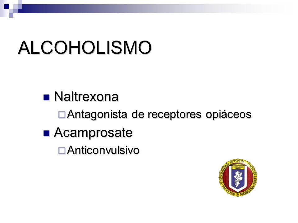 ALCOHOLISMO Naltrexona Acamprosate Antagonista de receptores opiáceos