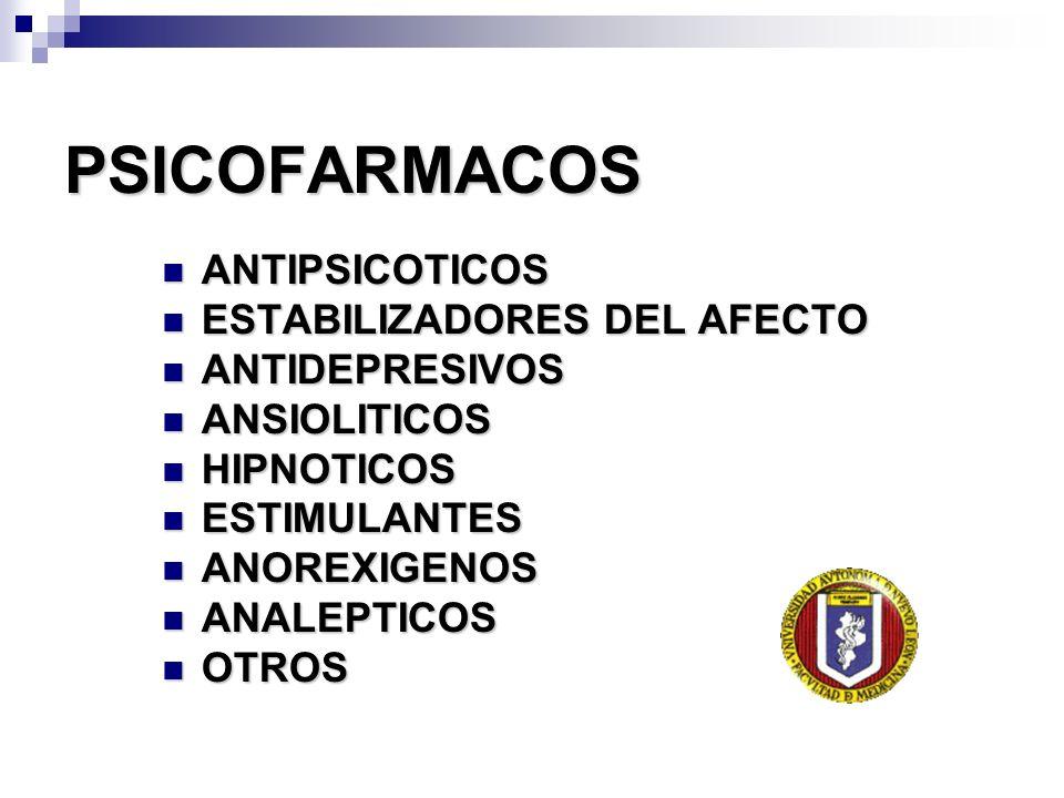 PSICOFARMACOS ANTIPSICOTICOS ESTABILIZADORES DEL AFECTO ANTIDEPRESIVOS