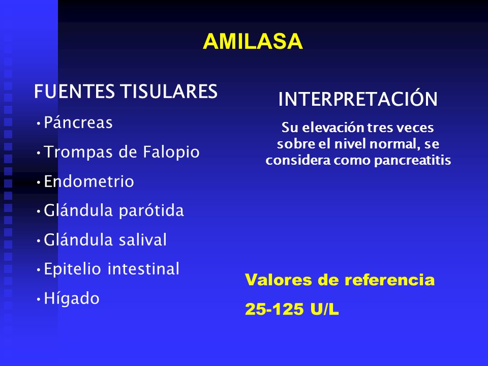 AMILASA FUENTES TISULARES INTERPRETACIÓN Páncreas Trompas de Falopio