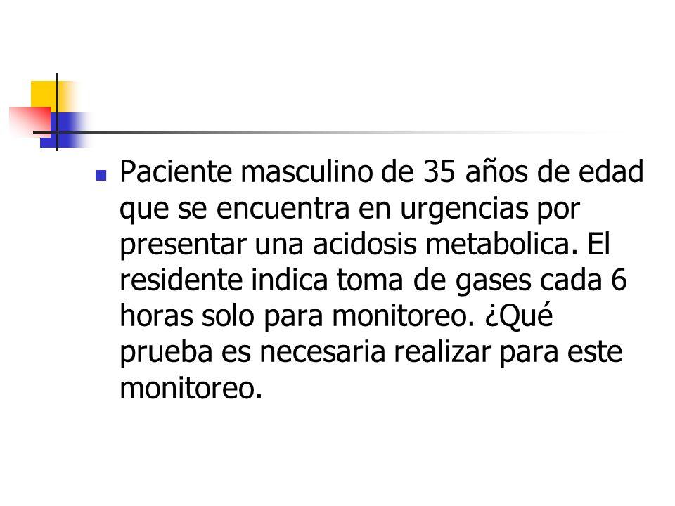 Paciente masculino de 35 años de edad que se encuentra en urgencias por presentar una acidosis metabolica.