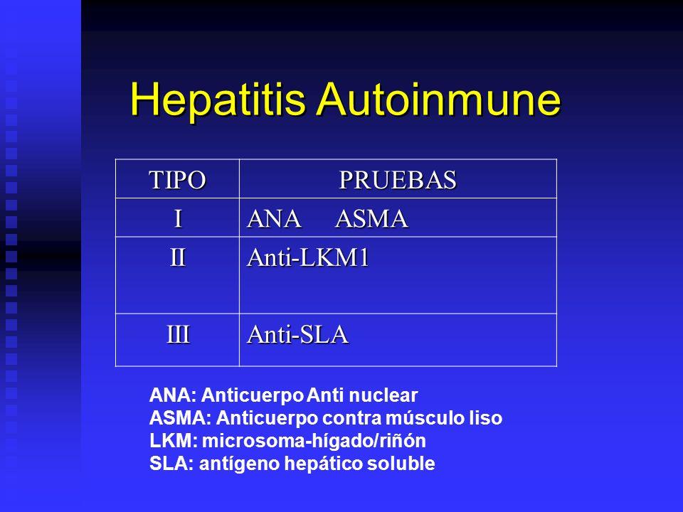 Hepatitis Autoinmune TIPO PRUEBAS I ANA ASMA II Anti-LKM1 III Anti-SLA