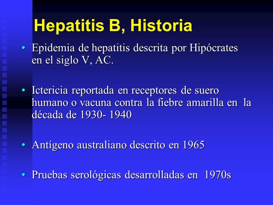 Hepatitis B, Historia Epidemia de hepatitis descrita por Hipócrates en el siglo V, AC.