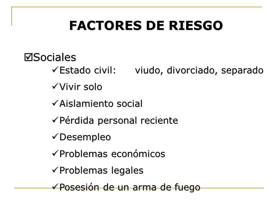 FACTORES DE RIESGO Sociales Estado civil: viudo, divorciado, separado