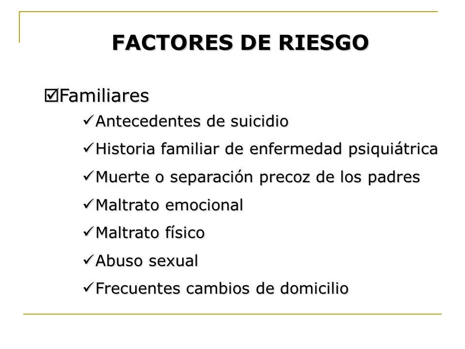 FACTORES DE RIESGO Familiares Antecedentes de suicidio