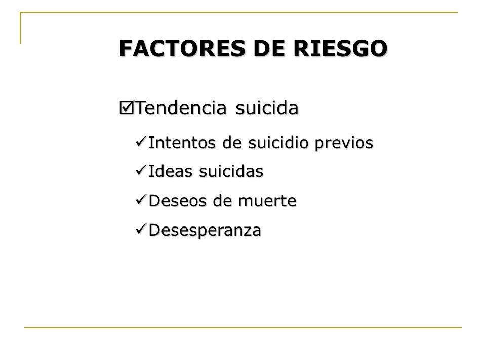 FACTORES DE RIESGO Tendencia suicida Intentos de suicidio previos