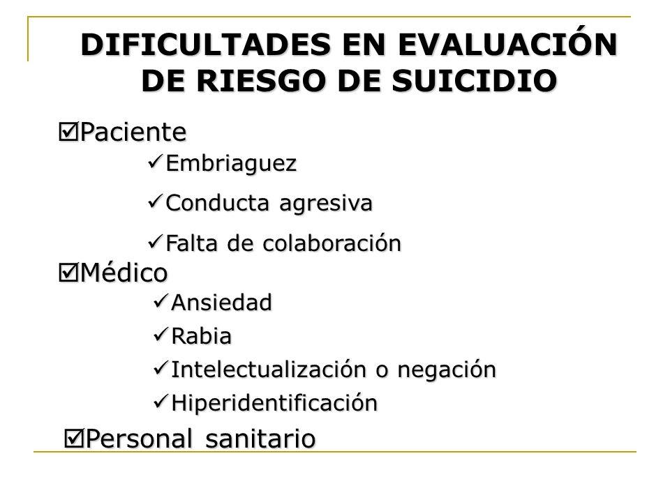 DIFICULTADES EN EVALUACIÓN DE RIESGO DE SUICIDIO