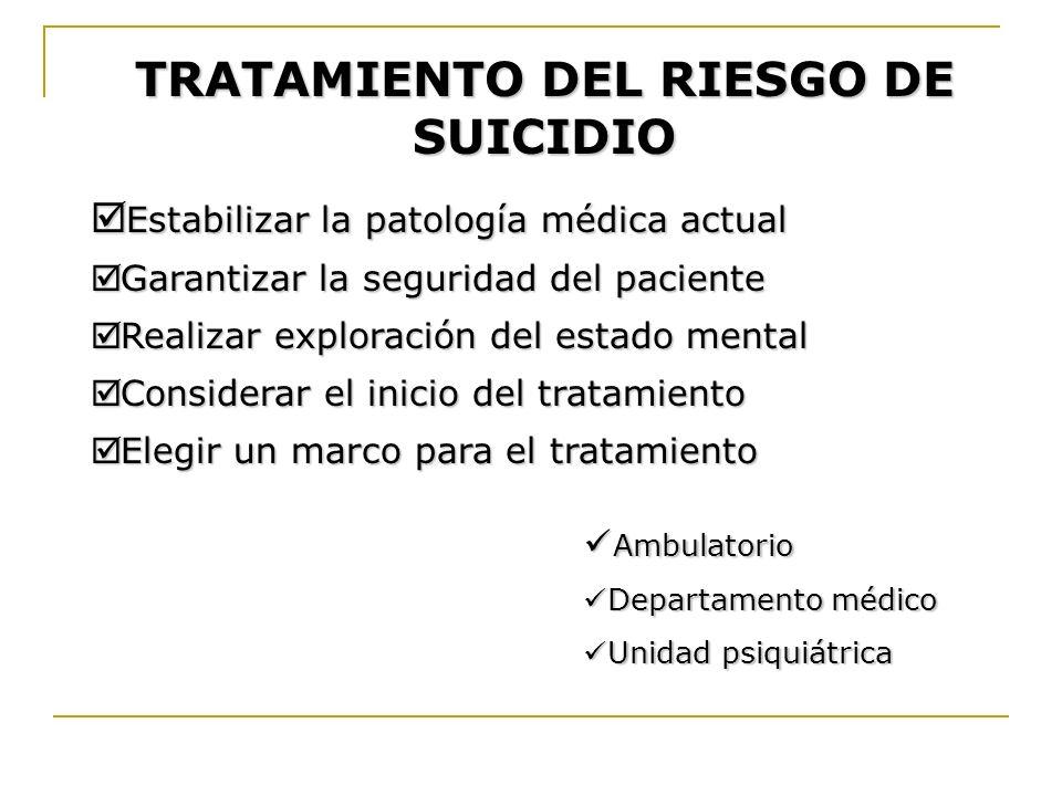 TRATAMIENTO DEL RIESGO DE SUICIDIO