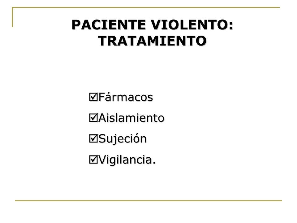 PACIENTE VIOLENTO: TRATAMIENTO