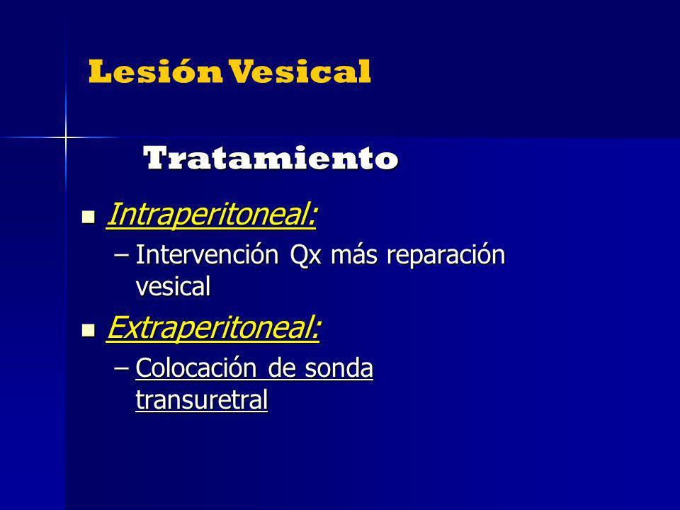 Tratamiento Lesión Vesical Intraperitoneal: Extraperitoneal: