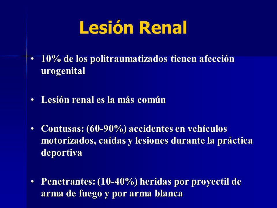 Lesión Renal 10% de los politraumatizados tienen afección urogenital