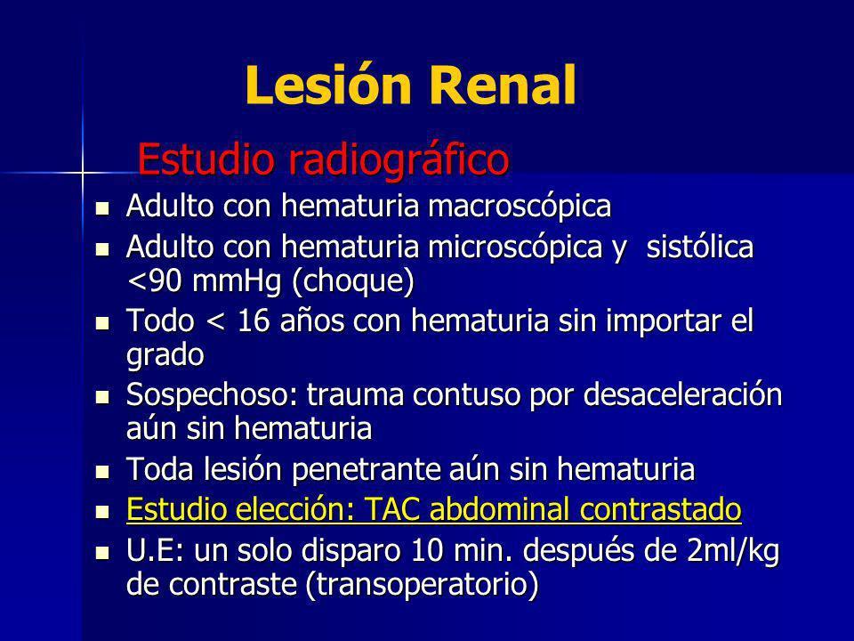 Lesión Renal Estudio radiográfico Adulto con hematuria macroscópica