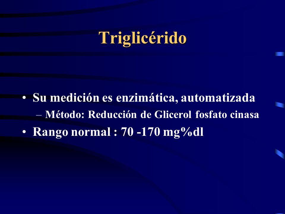 Triglicérido Su medición es enzimática, automatizada