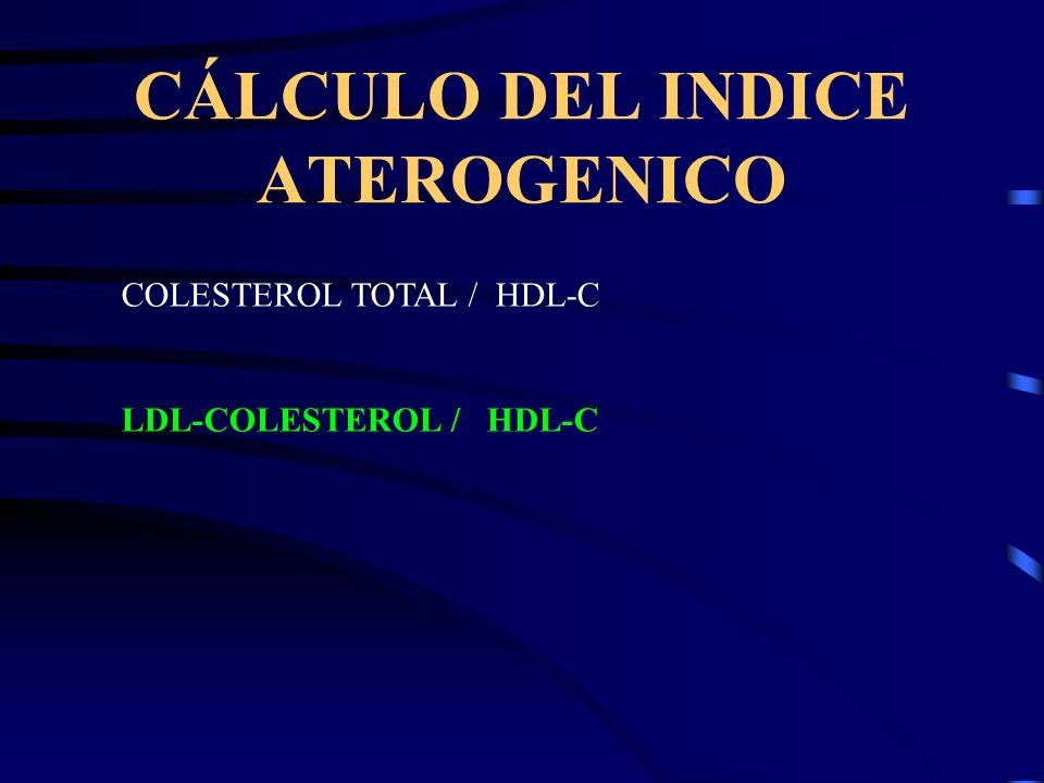 CÁLCULO DEL INDICE ATEROGENICO