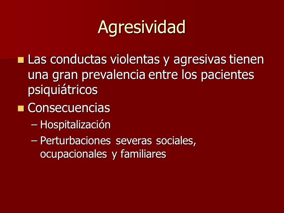 Agresividad Las conductas violentas y agresivas tienen una gran prevalencia entre los pacientes psiquiátricos.