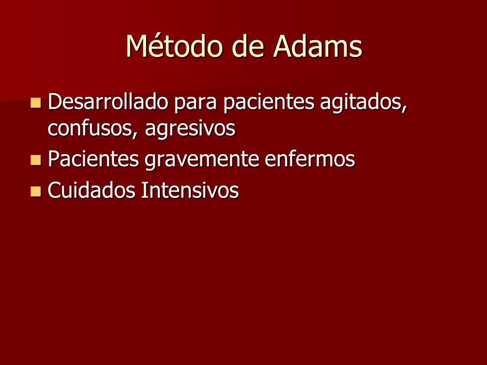 Método de Adams Desarrollado para pacientes agitados, confusos, agresivos. Pacientes gravemente enfermos.