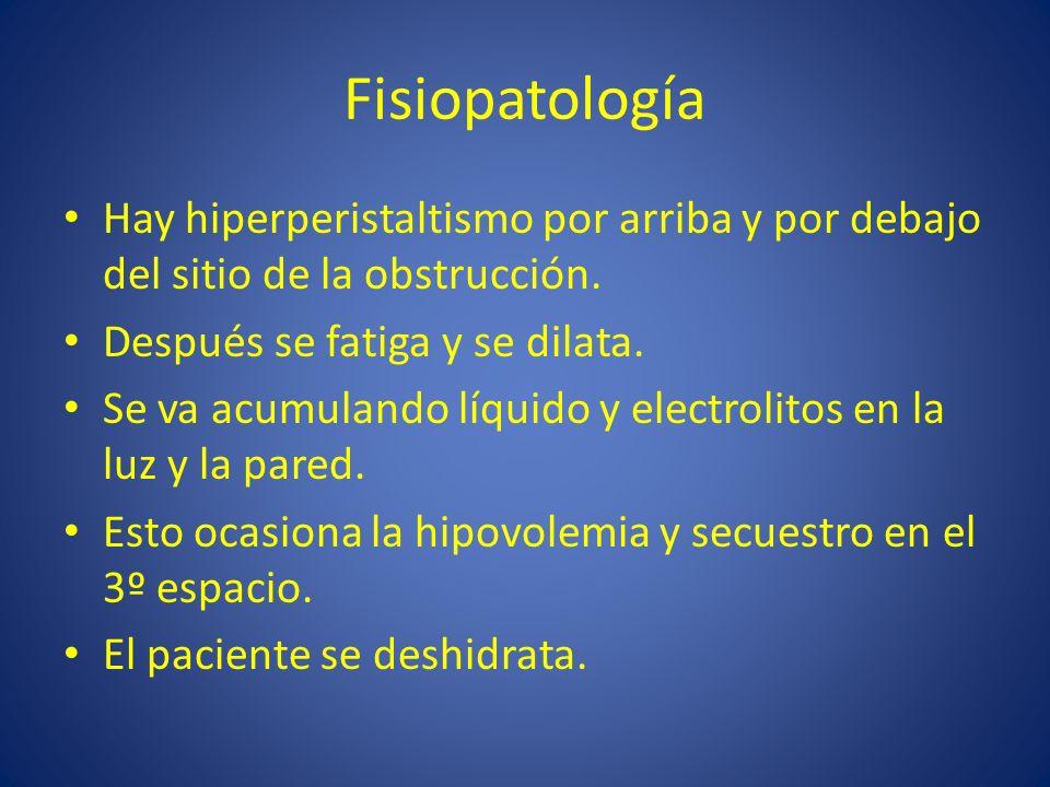 Fisiopatología Hay hiperperistaltismo por arriba y por debajo del sitio de la obstrucción. Después se fatiga y se dilata.