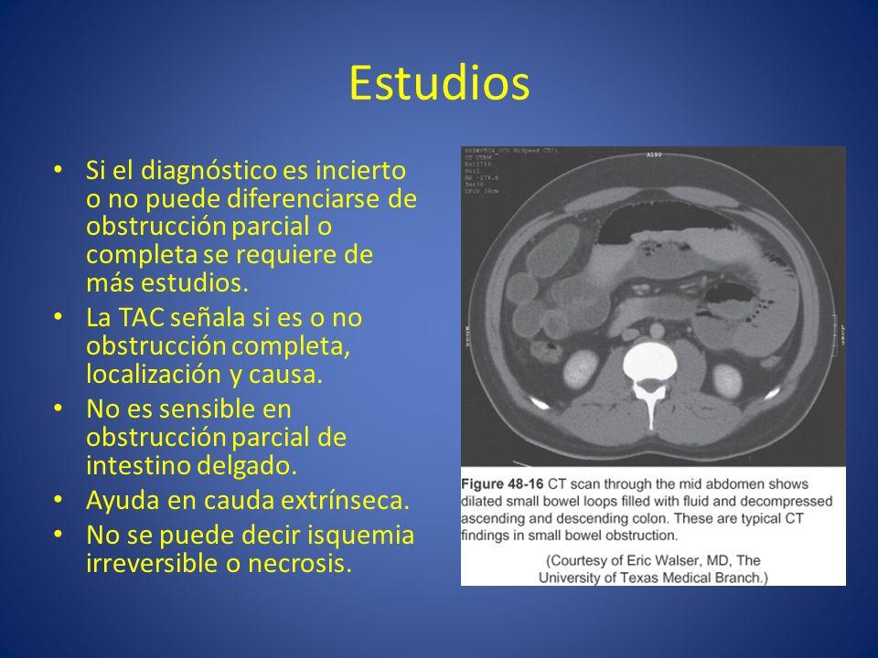 EstudiosSi el diagnóstico es incierto o no puede diferenciarse de obstrucción parcial o completa se requiere de más estudios.