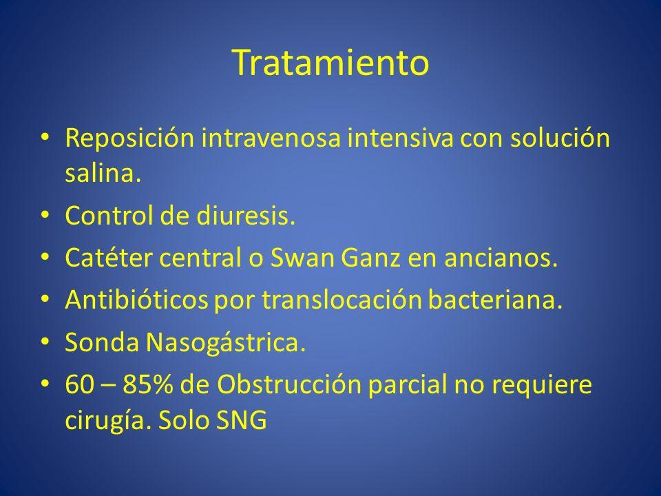 Tratamiento Reposición intravenosa intensiva con solución salina.