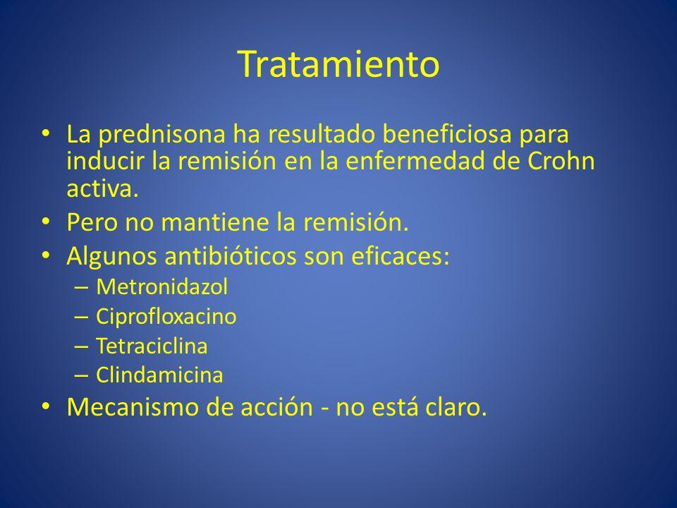 Tratamiento La prednisona ha resultado beneficiosa para inducir la remisión en la enfermedad de Crohn activa.