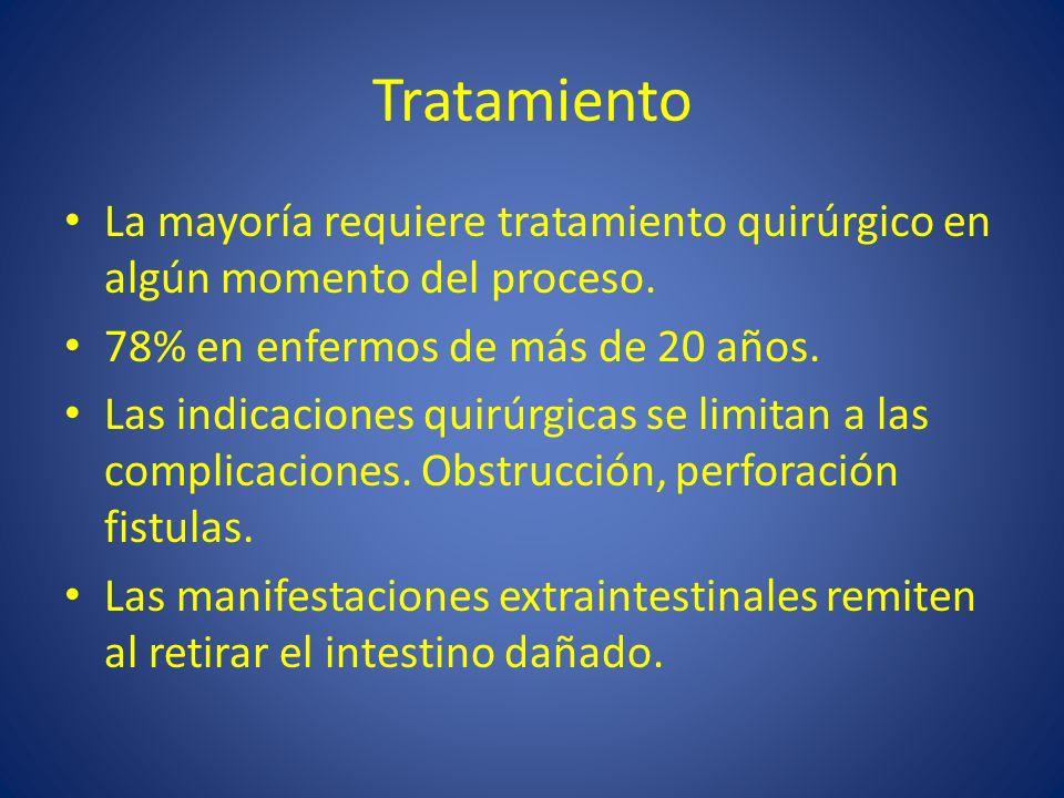Tratamiento La mayoría requiere tratamiento quirúrgico en algún momento del proceso. 78% en enfermos de más de 20 años.