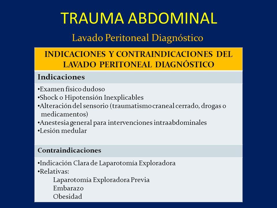 INDICACIONES Y CONTRAINDICACIONES DEL LAVADO PERITONEAL DIAGNÓSTICO