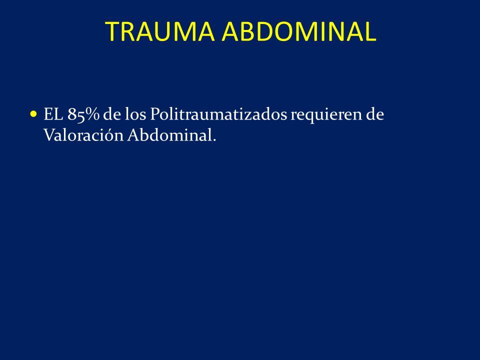 TRAUMA ABDOMINAL EL 85% de los Politraumatizados requieren de Valoración Abdominal.