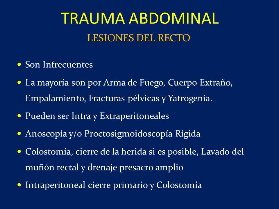 TRAUMA ABDOMINAL LESIONES DEL RECTO Son Infrecuentes