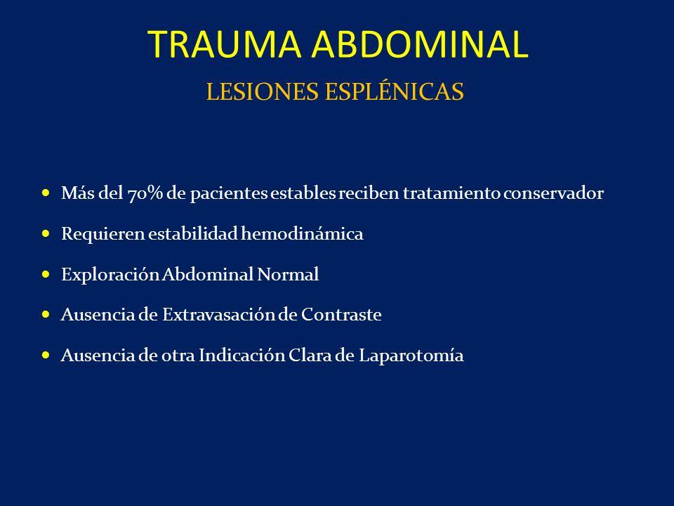 TRAUMA ABDOMINAL LESIONES ESPLÉNICAS