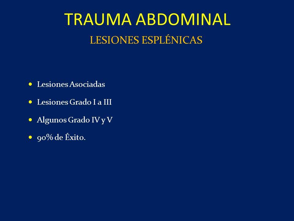 TRAUMA ABDOMINAL LESIONES ESPLÉNICAS Lesiones Asociadas