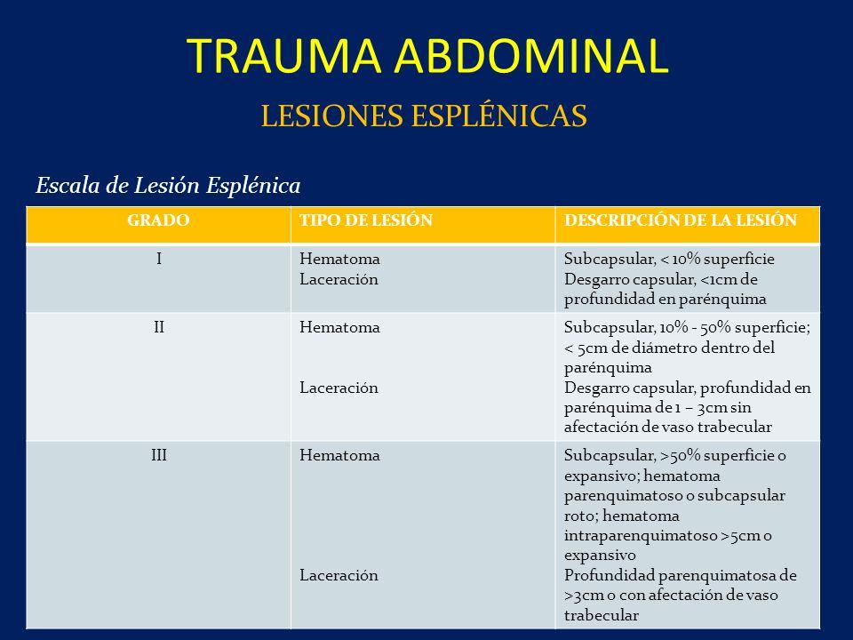 TRAUMA ABDOMINAL LESIONES ESPLÉNICAS Escala de Lesión Esplénica GRADO