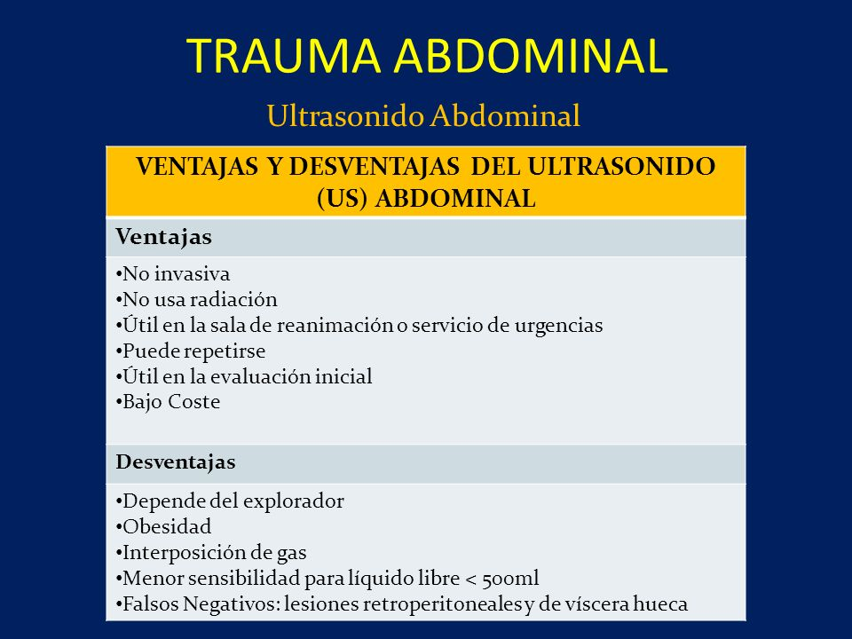 VENTAJAS Y DESVENTAJAS DEL ULTRASONIDO (US) ABDOMINAL