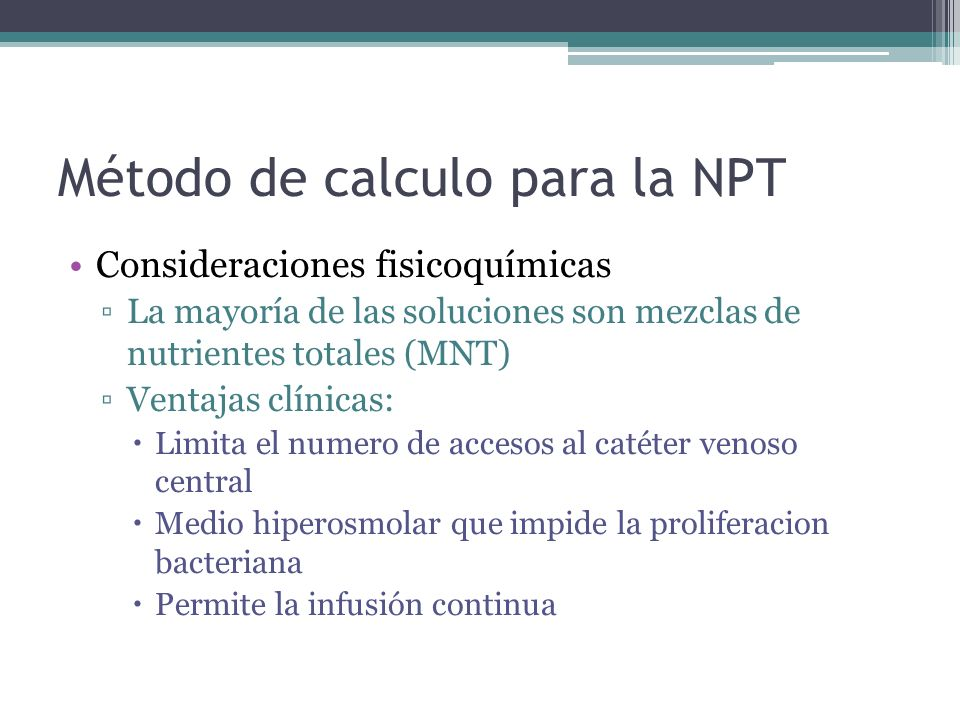 Método de calculo para la NPT