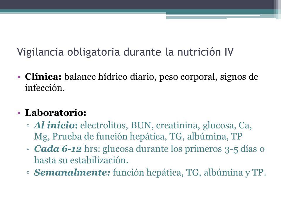 Vigilancia obligatoria durante la nutrición IV