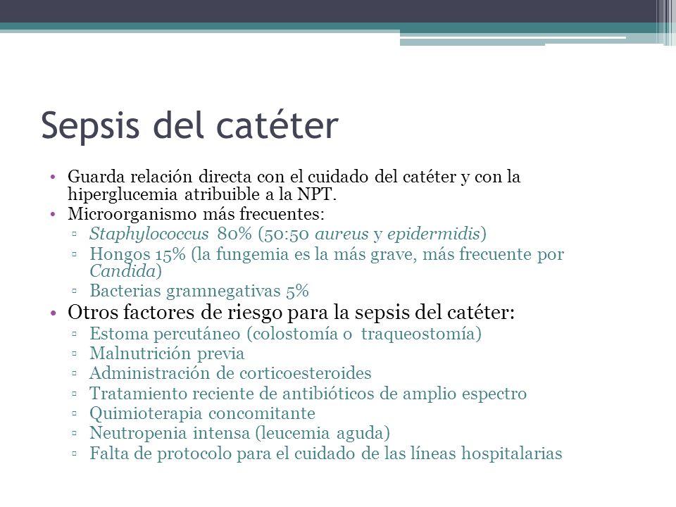 Sepsis del catéter Guarda relación directa con el cuidado del catéter y con la hiperglucemia atribuible a la NPT.