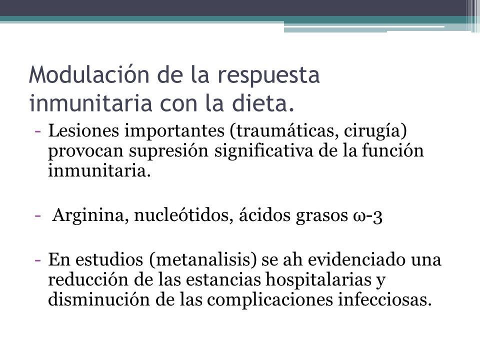 Modulación de la respuesta inmunitaria con la dieta.