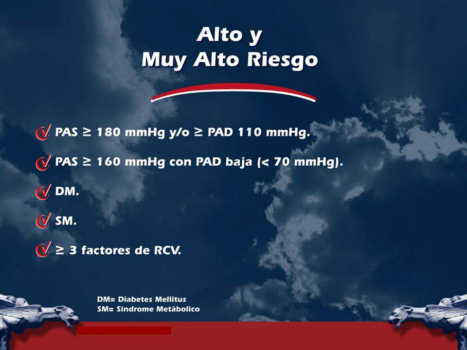 PA ≥ 180 mmHg sistólica y/o ≥ 110 mmHg diastolica