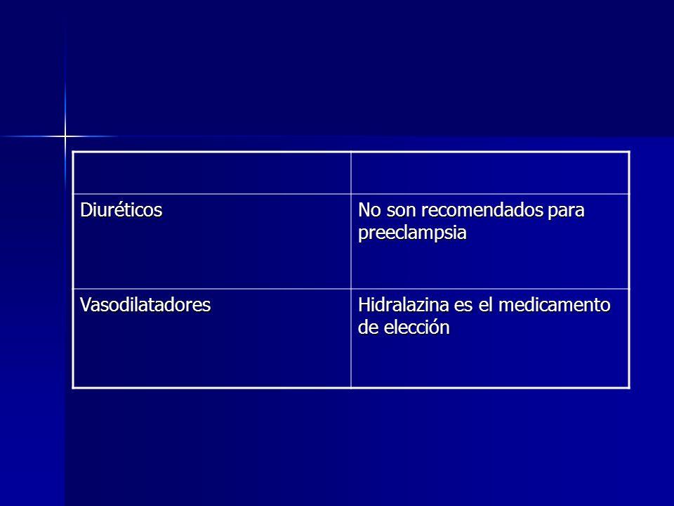 Diuréticos No son recomendados para preeclampsia. Vasodilatadores.