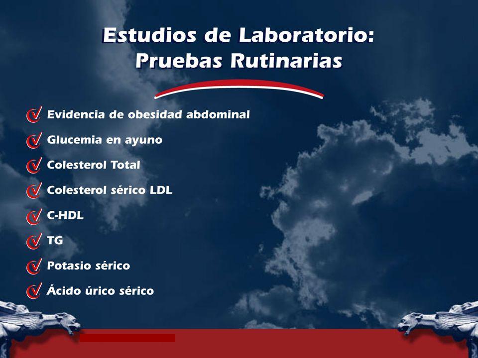 Routine tests† Fasting plasma glucose. † Serum total cholesterol. † Serum LDL-cholesterol. † Serum HDL-cholesterol.
