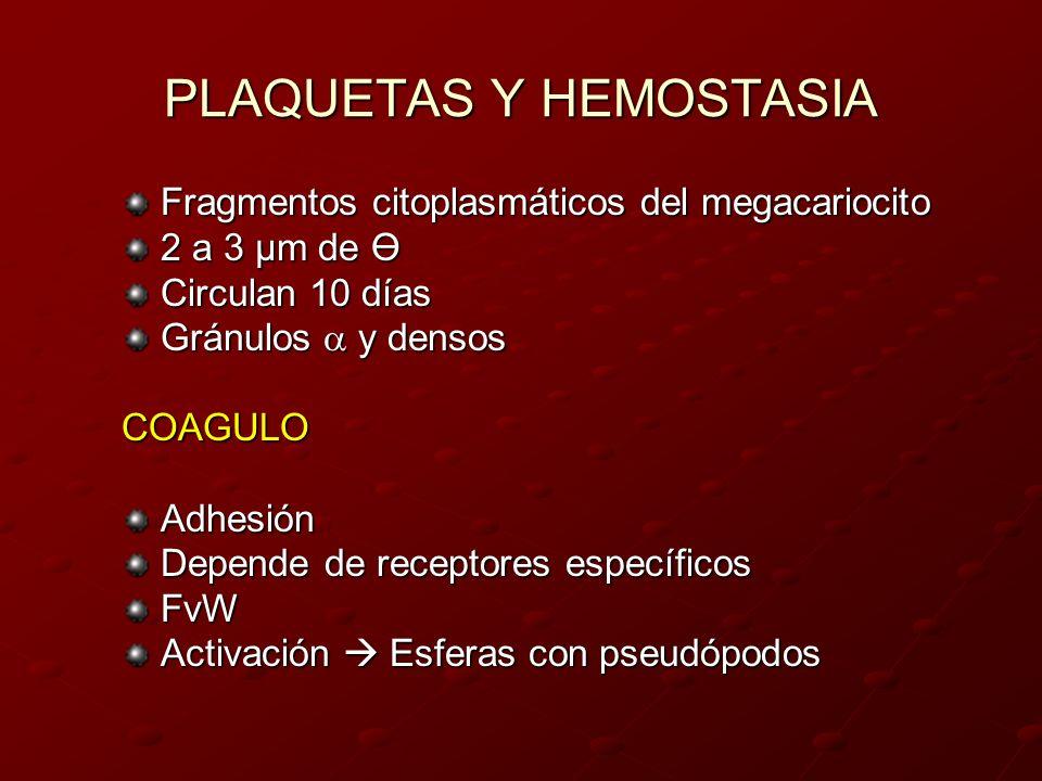 PLAQUETAS Y HEMOSTASIA