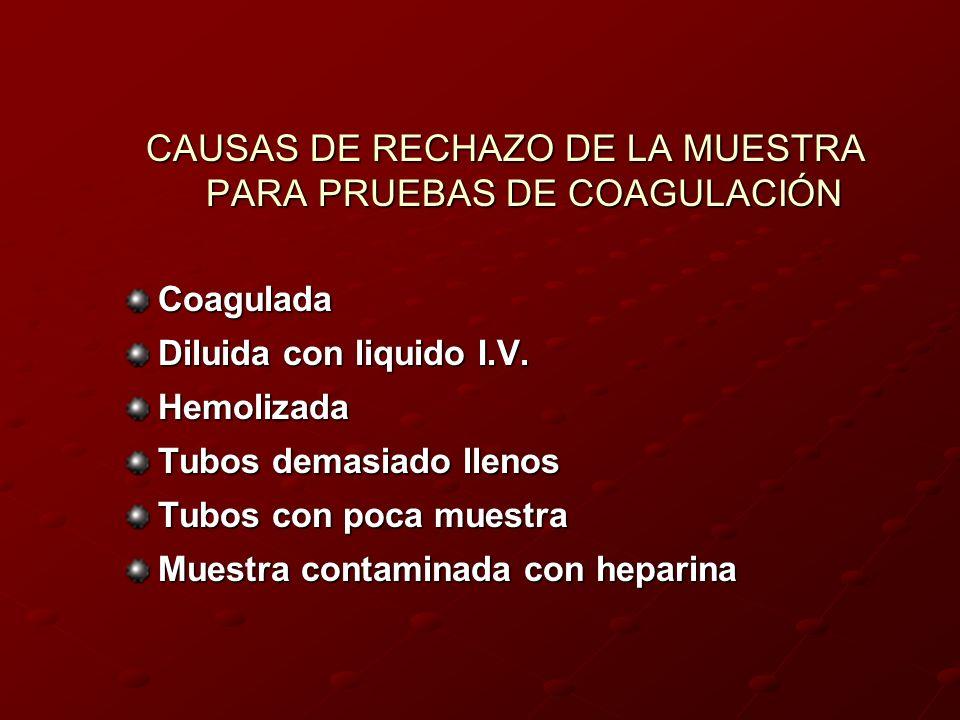 CAUSAS DE RECHAZO DE LA MUESTRA PARA PRUEBAS DE COAGULACIÓN