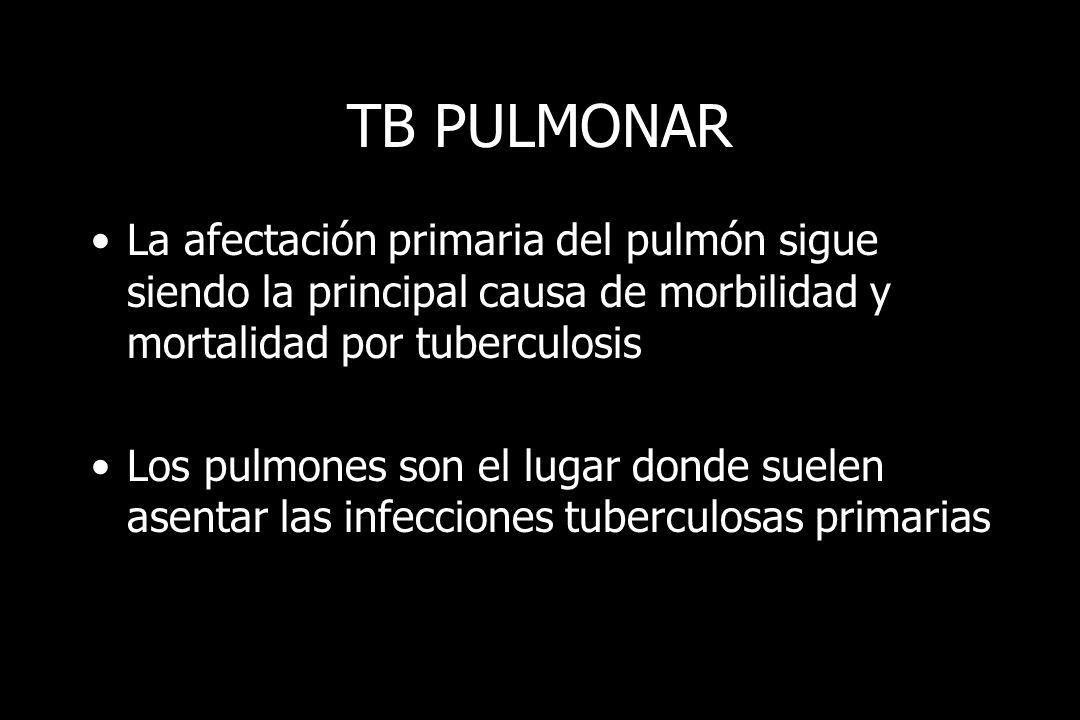 TB PULMONAR La afectación primaria del pulmón sigue siendo la principal causa de morbilidad y mortalidad por tuberculosis.