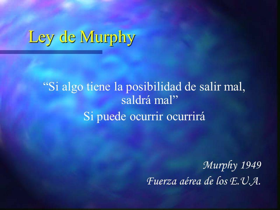 Ley de Murphy Si algo tiene la posibilidad de salir mal, saldrá mal