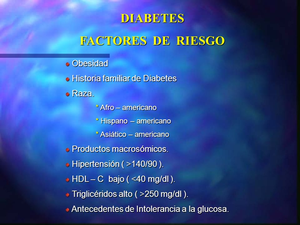 DIABETES FACTORES DE RIESGO