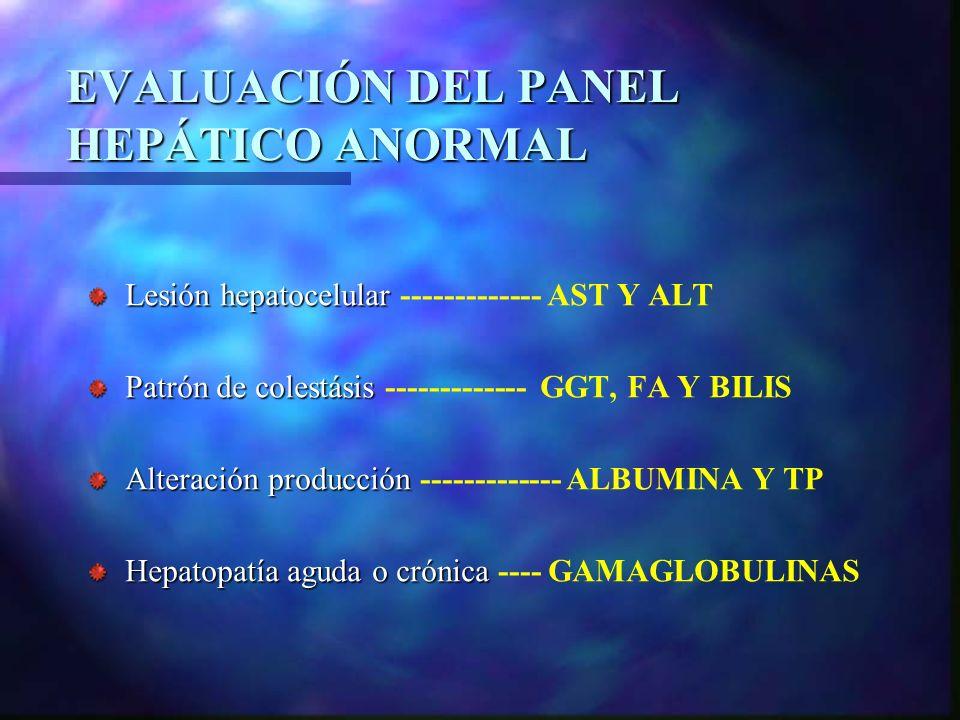 EVALUACIÓN DEL PANEL HEPÁTICO ANORMAL