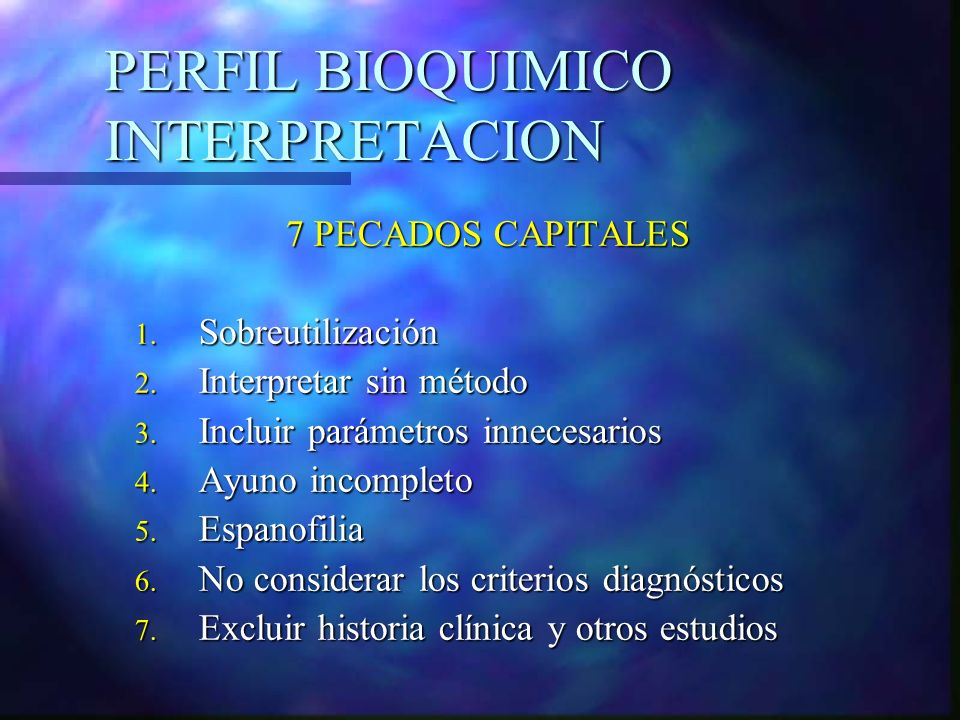 PERFIL BIOQUIMICO INTERPRETACION